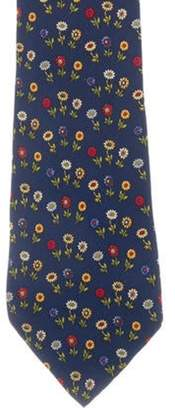 Salvatore Ferragamo Floral Silk Tie navy Floral Silk Tie