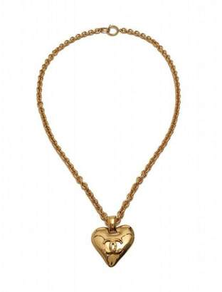 93P Coco Mark Heart Gold Tone Hardware Pendant Necklace