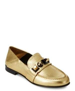 Fendi Studded Leather Loafers