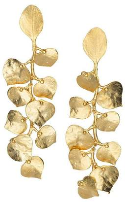 Kenneth Jay Lane Satin Gold Leaf Pierced Or Clip Earrings