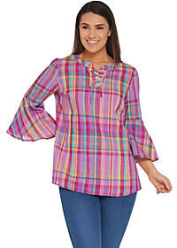 Isaac Mizrahi Live! Madras Plaid Bell SleeveLace-Up Blouse