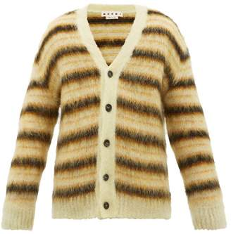 Marni Intarsia Striped Mohair Blend Cardigan - Mens - Yellow Multi