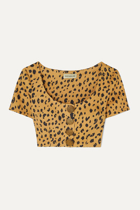 Nicholas Button-detailed Cropped Leopard-print Tencel-blend Top - Leopard print