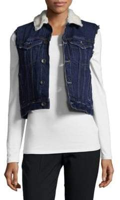 Helmut Lang Shrunken Faux Fur-Trimmed Denim Vest