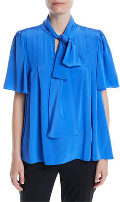 123461c8b0005 at Neiman Marcus · Diane von Furstenberg Silk Neck-Tie Short-Sleeve Blouse