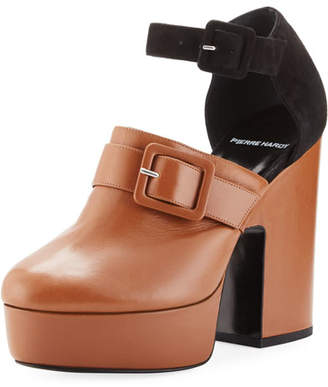 Pierre Hardy Crash Leather & Suede Platform Clog