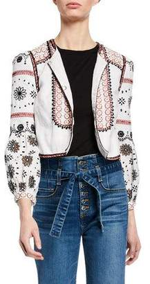Veronica Beard Shilin Cropped Linen Jacket w/ Floral Embroidery