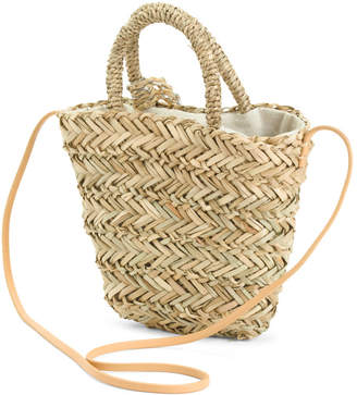 Handmade Straw Tote With Shoulder Strap