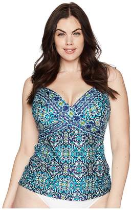LaBlanca La Blanca Plus Size Tuvalu Underwire Wrap Over the Shoulder Tankini Top Women's Swimwear