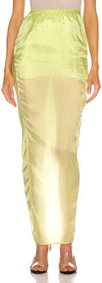 Rick Owens Soft Pillar Skirt in Dark Lime   FWRD