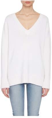 Allude White Cashmere V-Neck Sweater