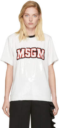 MSGM White Sequin Logo T-Shirt