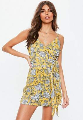 Missguided Yellow Printed Tie Side Overlay Romper