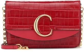Chloé C croc-effect leather clutch