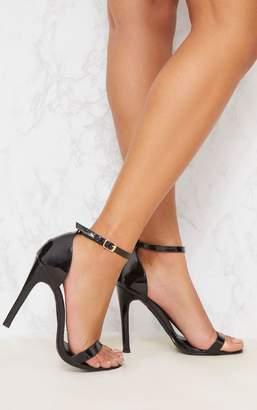 PrettyLittleThing Clover Black Patent Heeled Strappy Sandal