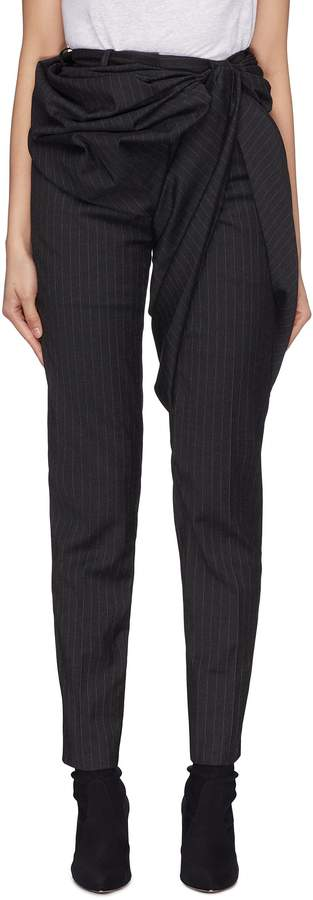 Gathered drape panel pinstripe skinny suiting pants