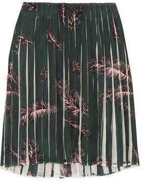 Emilio Pucci Printed Pleated Silk-Chiffon Skirt