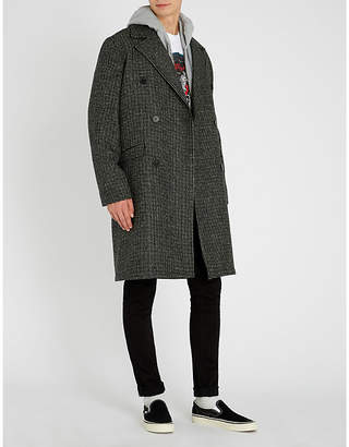 The Kooples Double-breasted checked stretch-wool coat