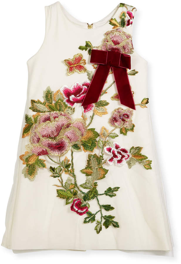 Zoe Winter Rose-Embroidered A-Line Dress, Size 7-16