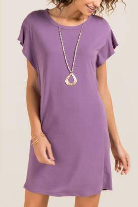francesca's Libby Ruffle Sleeve Knit Dress - Vintage Purple