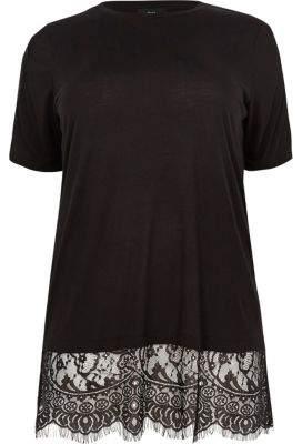 River Island Plus black lace short sleeve T-shirt