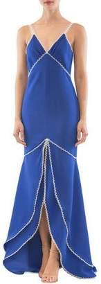 Nha Khanh Strappy V-Neck Long Front-Slit Dress
