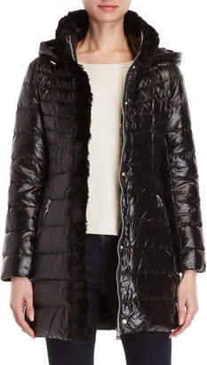 Karl Lagerfeld Faux Fur-Trimmed Packable Down Coat