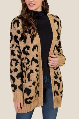 francesca's Willow Leopard Cardigan - Taupe