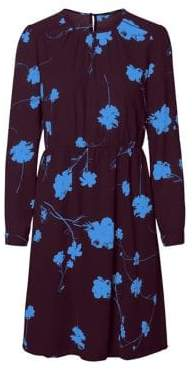 Vero Moda Zitta Abstract Long-Sleeve Fit Flare Dress