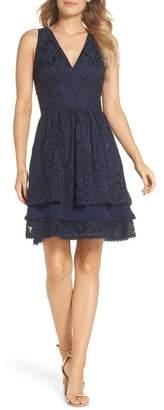Eliza J Sleeveless Lace Tiered Dress (Regular & Petite)
