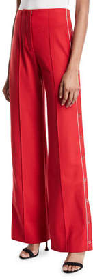 Jonathan Simkhai Snap-Up Wide-Leg Pleated Pants