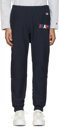Champion x Beams Navy Logo Lounge Pants $200 thestylecure.com