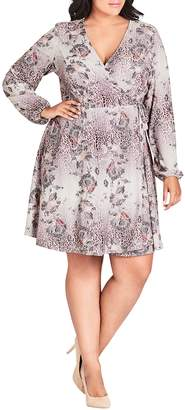 City Chic Wild Lace Print Wrap Dress