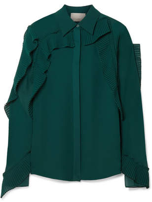Jason Wu Pleated Ruffled Chiffon Blouse - Emerald