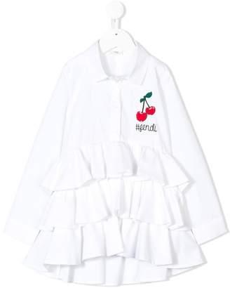 Fendi cherry embroidery ruffled shirt