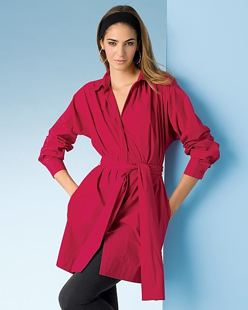 Sutton Studio Exclusive Stretch Cotton Belted Tunic Dress - Misses'
