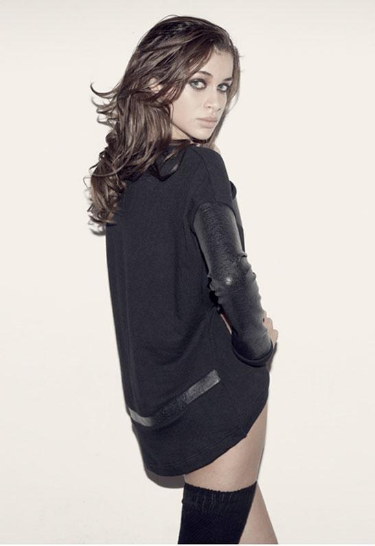 Singer22 Bobo Leather Sleeved Sweatshirt as seen on Kim Kardashian - by Generation Love
