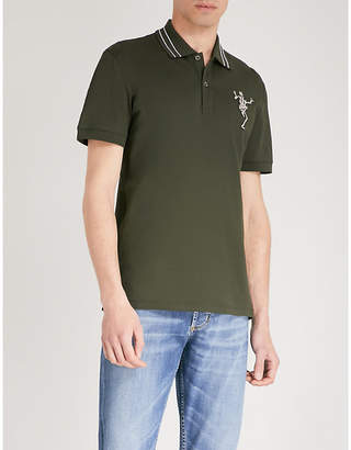 Alexander McQueen Skeleton-embroidered cotton-piqué polo shirt