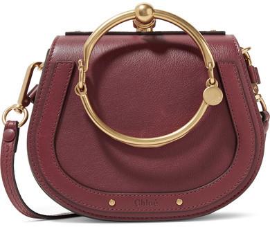 Chloé Nile Bracelet Small Leather And Suede Shoulder Bag - Claret
