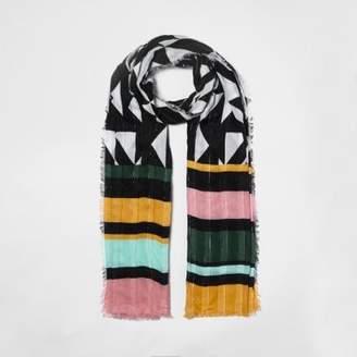River Island Womens Black geo stripe print textured scarf