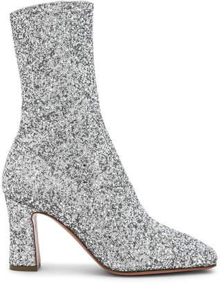 Sabrina Amina Muaddi Glitter Stretch Ankle Boots