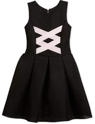 Zoe Box-Pleat Sleeveless Dress w/ Ballet Lace-Up Front, Black/Pink, Size 4-6X