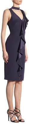 Theia Women's Ruffle-Front V-Neck Choker Dress