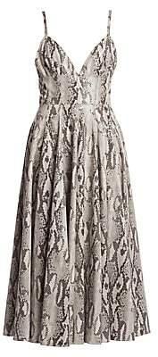 MSGM Women's Python-Print Pleated Dress