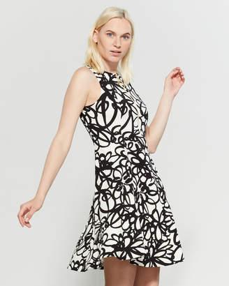 DKNY Printed Half-Zip Fit & Flare Dress