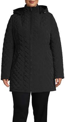 Liz Claiborne Hooded Lightweight Quilted Jacket-Plus