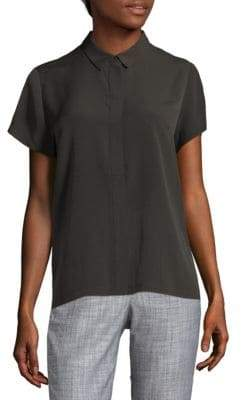 French Connection Point Collar Crepe Top