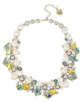 Betsey Johnson Sealife Faux Pearl and Crystal Seashell Cluster Collar Necklace