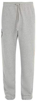 Gucci Side Stripe Tiger Appliqué Track Pants - Mens - Grey