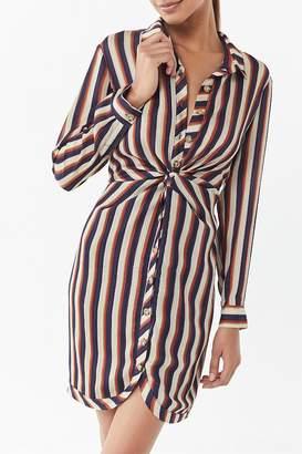 Heartloom Tina Striped Twist-Front Shirt Dress
